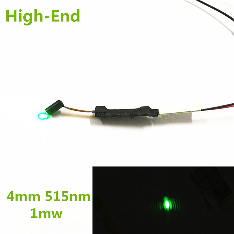 Class II High-End 4mm 520nm 532nm 1mW Green Laser Diode Module Dot  Industrial Grade APC Driver with PD