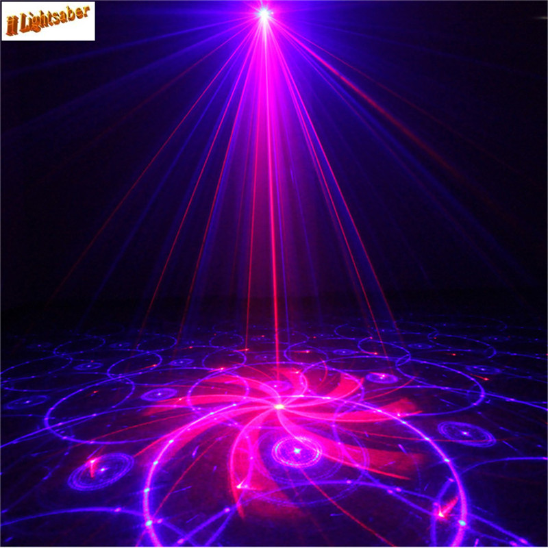 3 Lens 24 Patterns Red & Blue Laser +Blue LED Stage Lighting DJ Home Party show Professional Projector Light Disco