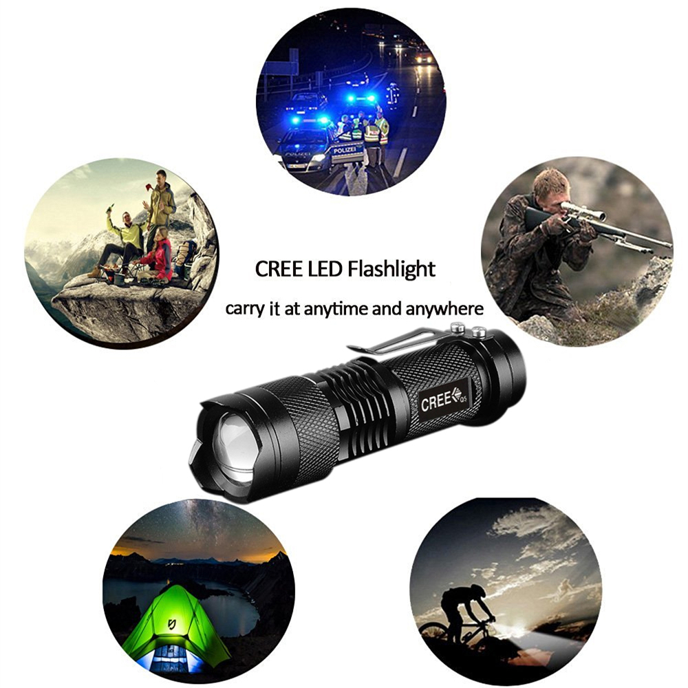Powerful Tactical Flashlights Portable LED Camping Lamps 3 Modes Zoomable Torch Light Lanterns Self Defense 6pcs/Lot zk70