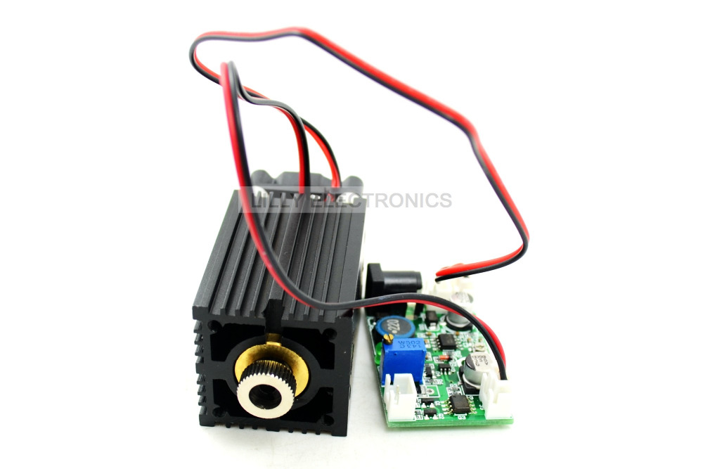 450nm 2W focusable blue laser module 12V TTL + wood engraving+long time working