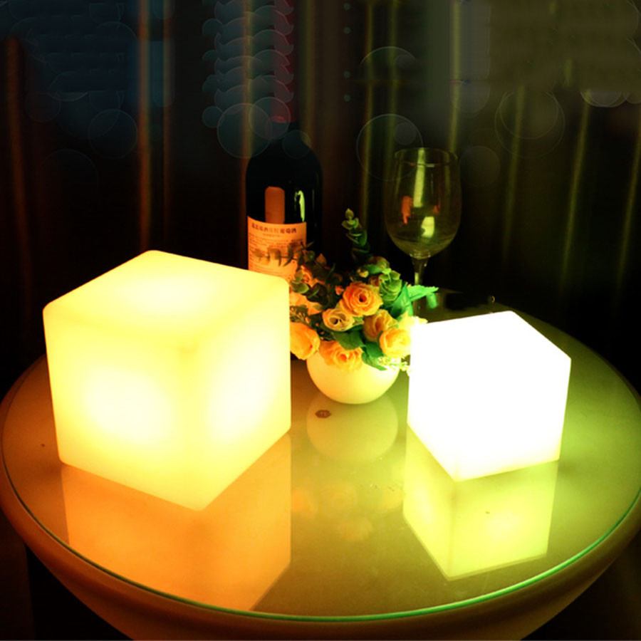 BEIAIDI IP68 Outdoor Garden LED Cube Table Lights 16 RGB Color Rechargeable Cordless Party KTV Bar Desk Lamp with Remote Control