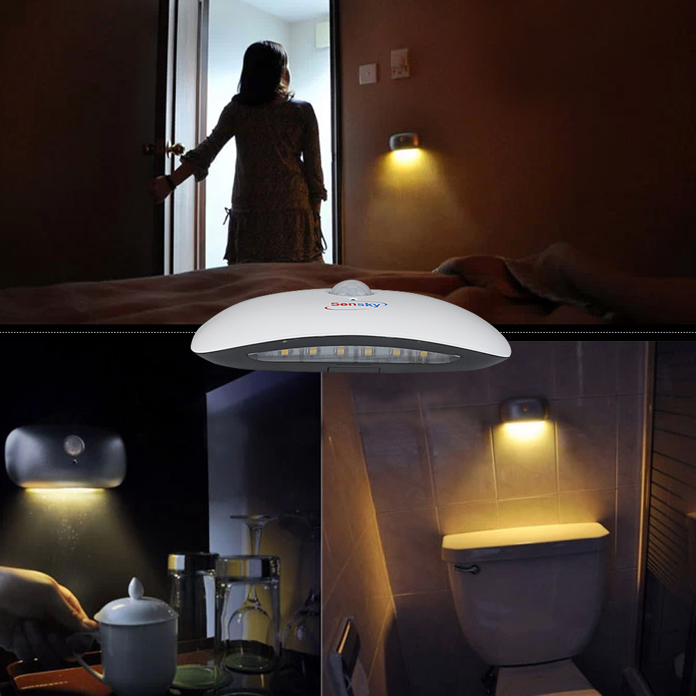 Sensky Body Induction LED night light PIR motion sensor lamp with Battery-Operated for Emergency