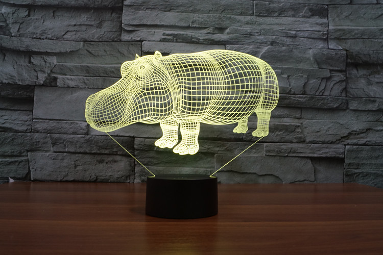 3D Hippopotamus LED Night Light 7Color Change As Home Decoration  Creative lamp As Party Decoration For Kids Gift Toys
