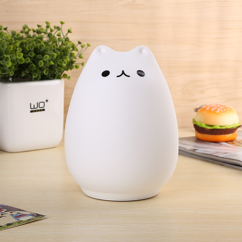 LED Cat Night Light 2 Modes USB Rechargeable Silicone Luminaria Touch Sensor Bedside Baby Nursery Lamp Christmas Gift Home Decor