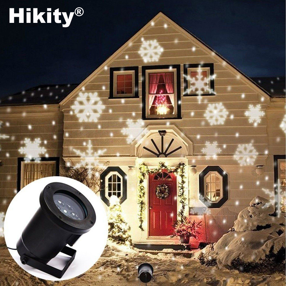 Hikity Christmas Garden Decoration Auto Moving Snowflake Indoor Outdoor Led Lights Projector Tree Decoration Landscape Lighting