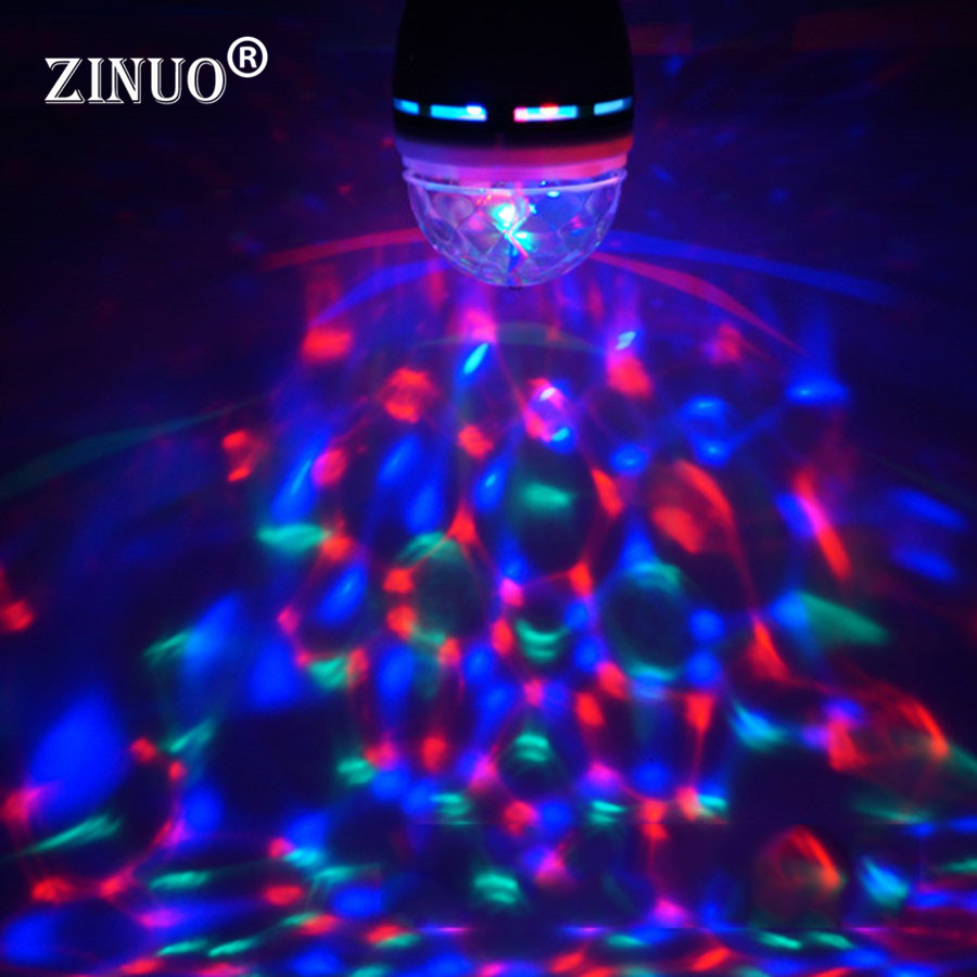 ZINUO E27 3W RGB LED Bulb Stage Light Auto Rotating Magic Disco Ball Stage Effect Party Lamp DJ lights dance party effect Lamp
