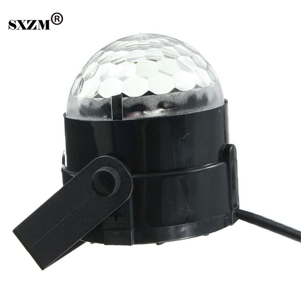 SXZM 3W DJ Light RGB Color Changing Sound Actived Crystal Magic Mini Disco Ball Led Stage Lights KTV Xmas Wedding Party Light