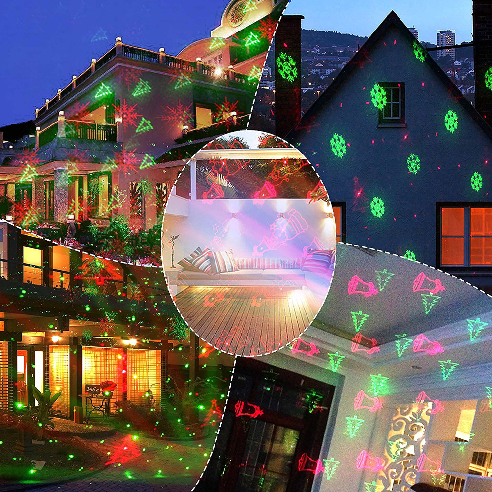 Outdoor Christmas Laser Lights Projector Motion Snowflake/Jingling Bell/Xmas Tree/Santa Claus/RG Stars with RF Remote for Xmas