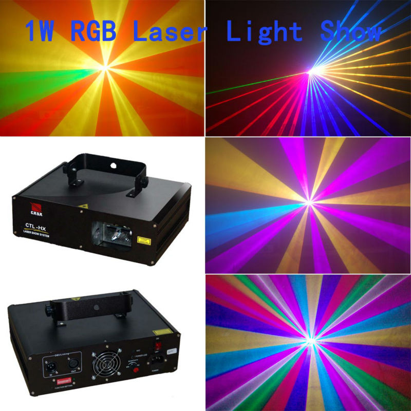 Full Color 1W RGB  Laser Projector Stage Light DJ Dance Party Lighting