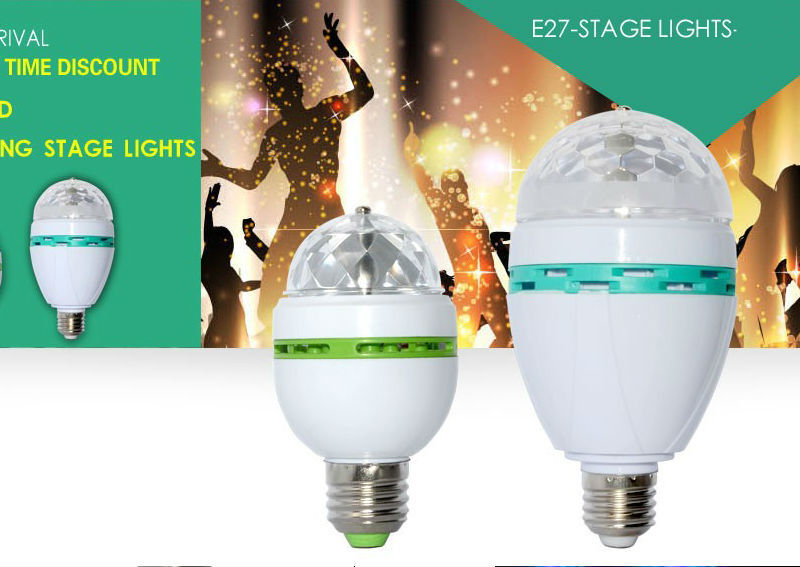 E27 mini 3W 6W Colorful Auto Rotating RGB LED Bulb Housing Stage Light Party Lamp Disco Lamp Light