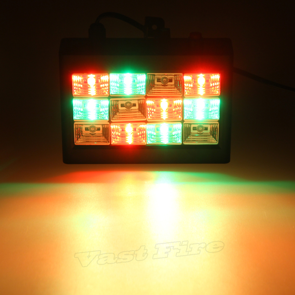 20W AC100-240V 12pcs  RGB LED Strobe Stage LighFlashlight for Disco Party DJ Strobe Light Sound Activated Stage Lighting Effect