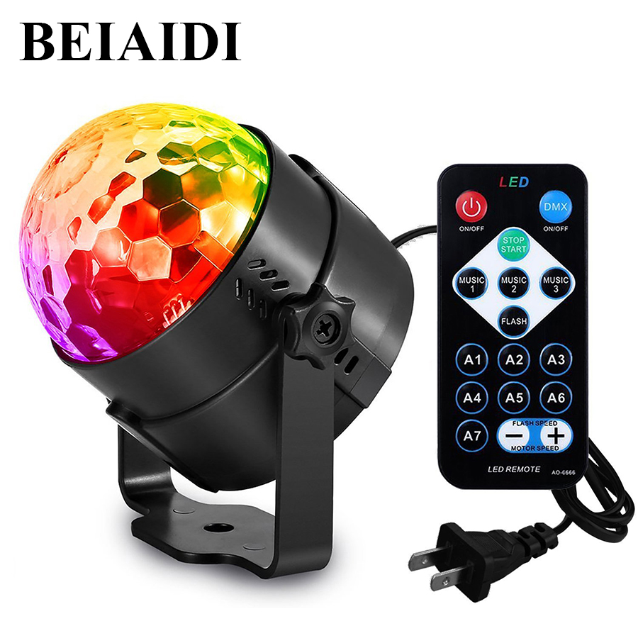BEIAIDI Mini RGB Magic Crystal Ball Strobe lamp Sound Activated Party Disco DJ Stage Light with Remote Bar Xmas Club Pub Light