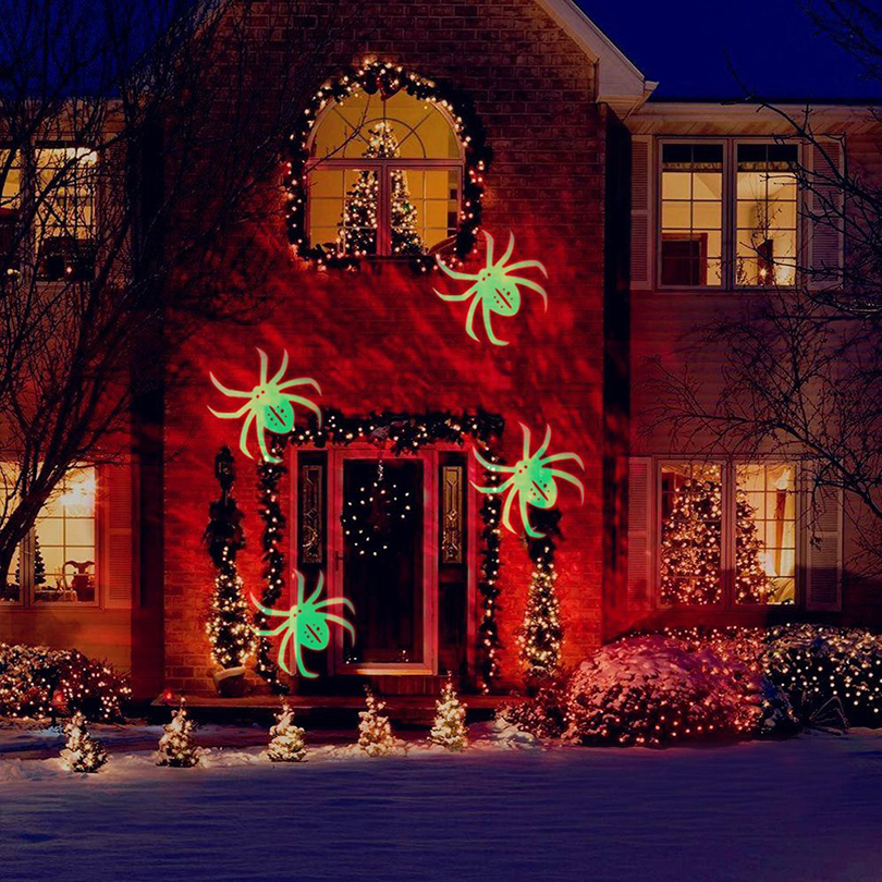 Christmas Halloween Party LED Laser Projector Lights Snowflake Spide Moving Projector Landscape Stage Light Show Sparkling Light