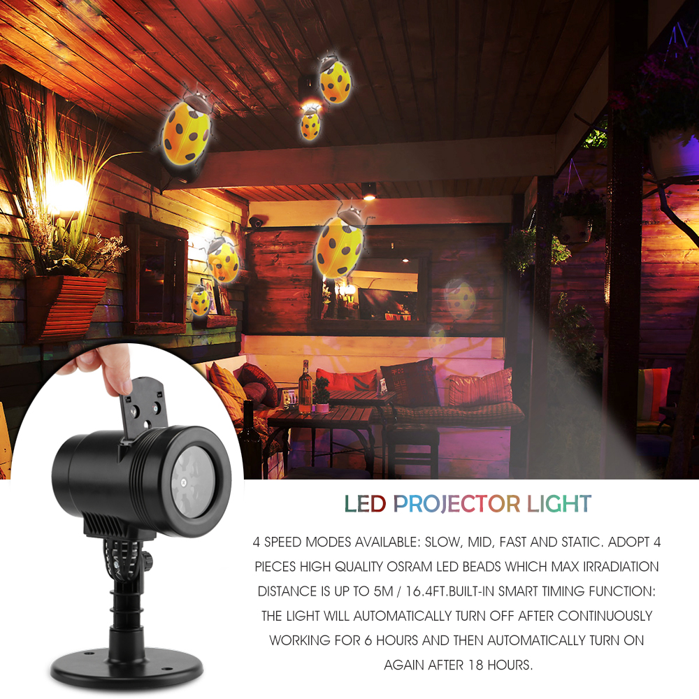 Christmas Stage LED Disco Projector Light Waterproof Lamp DJ 14 Kinds Colorful Star Ghost Snowflake Heart Leaf for Xmas Party