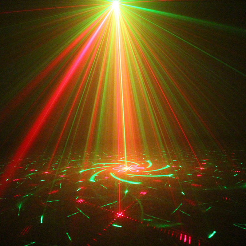 Mini Laser Show Projector Red Green Blue LED Party Dance Lights Disco Ball Stage Machine Sound Control and With Remote