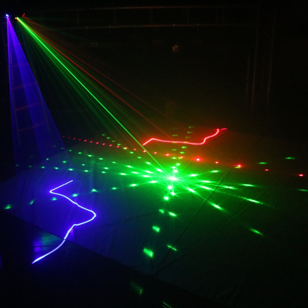 AUCD DMX 4 Lens RGB Red Green Blue Beam Pattern Network Laser Light Home PRO DJ Show KTV Scanner Club Stage Lighting  A-X4