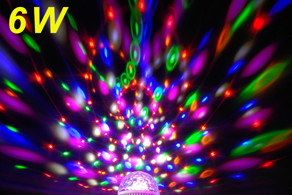 4Pcs/lot YNL RGB Colorful Rotating Dj disco light 6W E27 85-265V Color music Magic disco Ball  Party lights effect Bulb Lamp