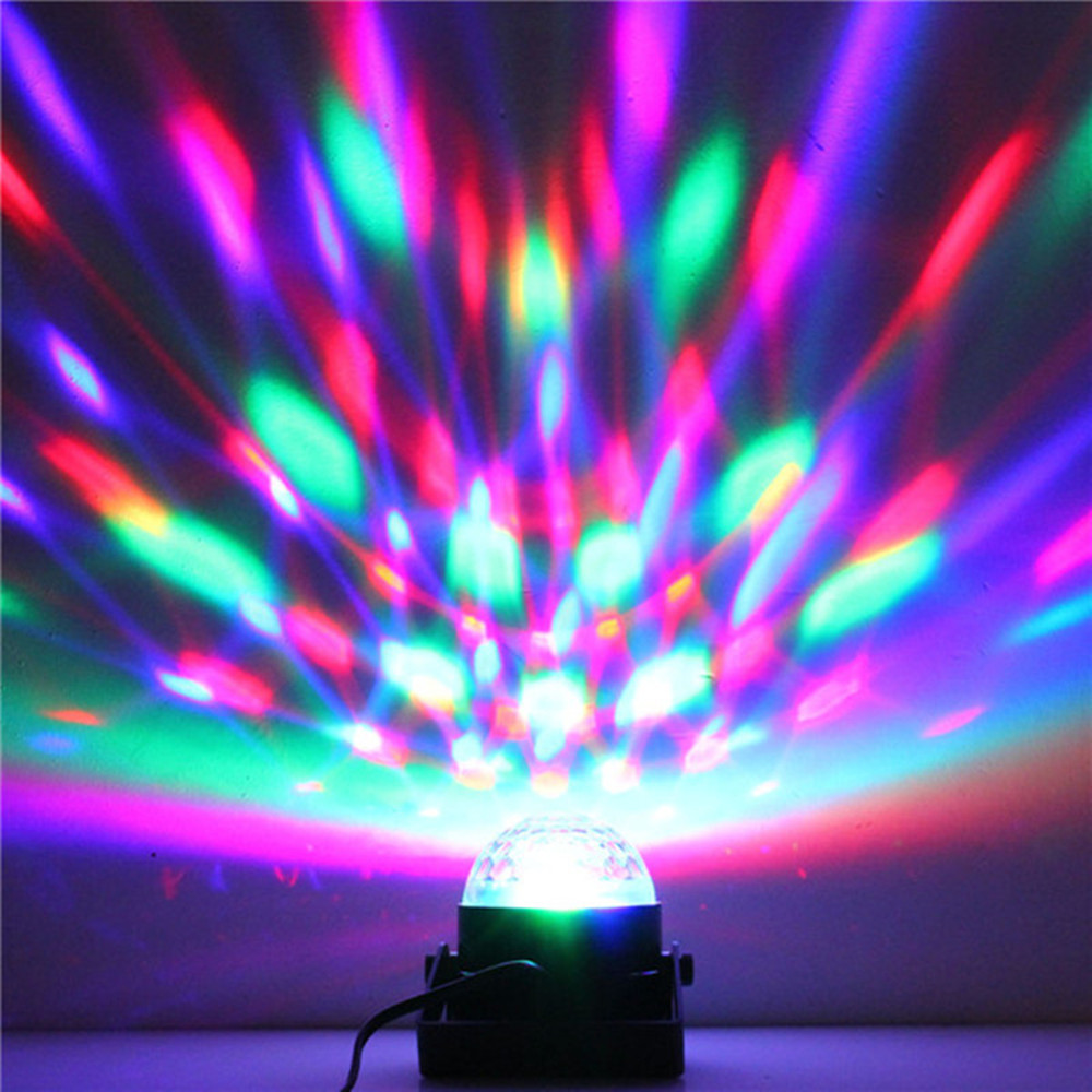 Wholesale Crystal Magic Ball Stage Lighting Mini 3W Rotating Ball Sound/Auto Control Colorful ktv DJ light disco Stage Lamp