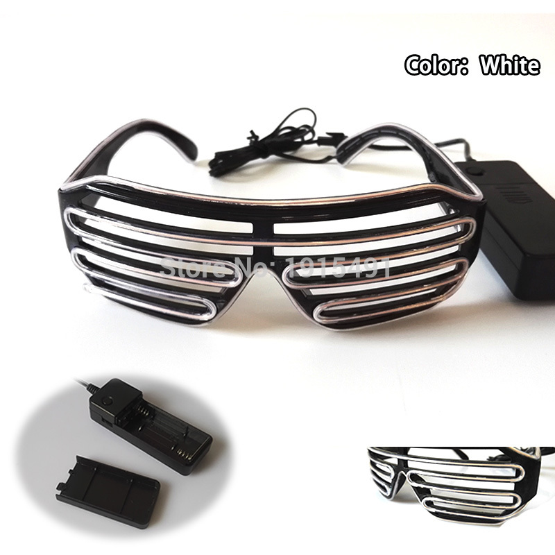 New style 10 colors  popular  LED glasses decoration sound active glowing EL shutter Glasses with 3V inverter for stage design