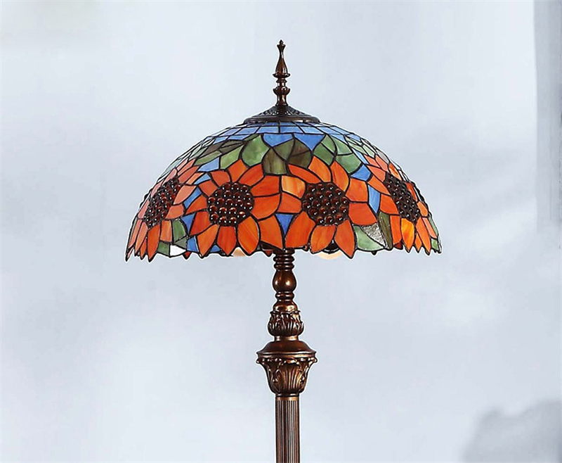 FUMAT European Pastoral Stained Glass Floor Lamp Home Decor Sunflower shade Floor Lights For Living Room Fashion Floor Lamp
