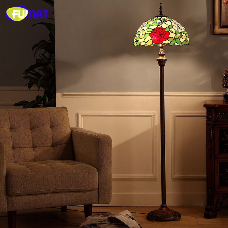 FUMAT European Style Tiffany Floor Lamps Living Room Dragonfly Pastroal Stained Glass Rose Shade Floor Lights LED Lightings