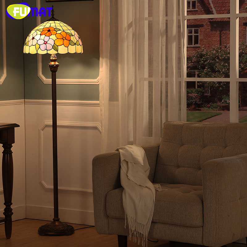 FUMAT Modern Brief European Style Stained Glass Floor Lamp For Living Room Bedside Vintage Artistic Flower Shade Floor Lights