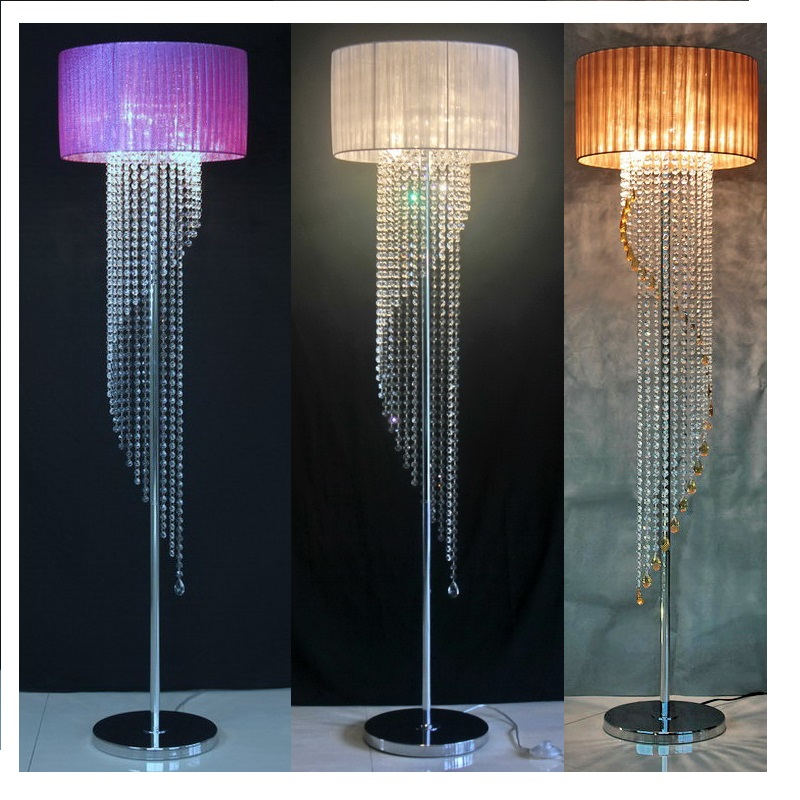 Modern Crystal Floor Lamp Home Decoration Living Room living room Abajur Sofa Fabric Dicroica Lamparas Crystal Stand Lights