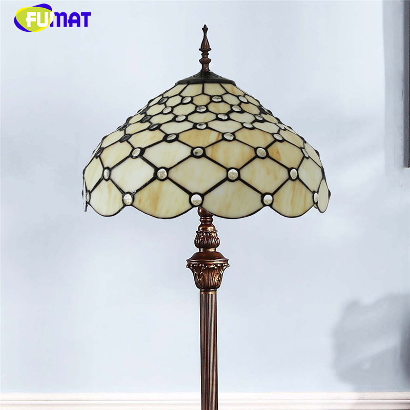 FUMAT European Modern Brief Glass Floor Lights For Living Room Bedside Vintage Yellow Shade Warm LED Stained Glass Floor Lamp