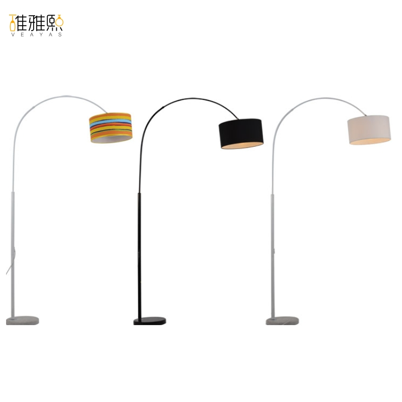 LED rainbow black and white color floor fashion fishing lamp living room bedroom study creative remote floor lamp