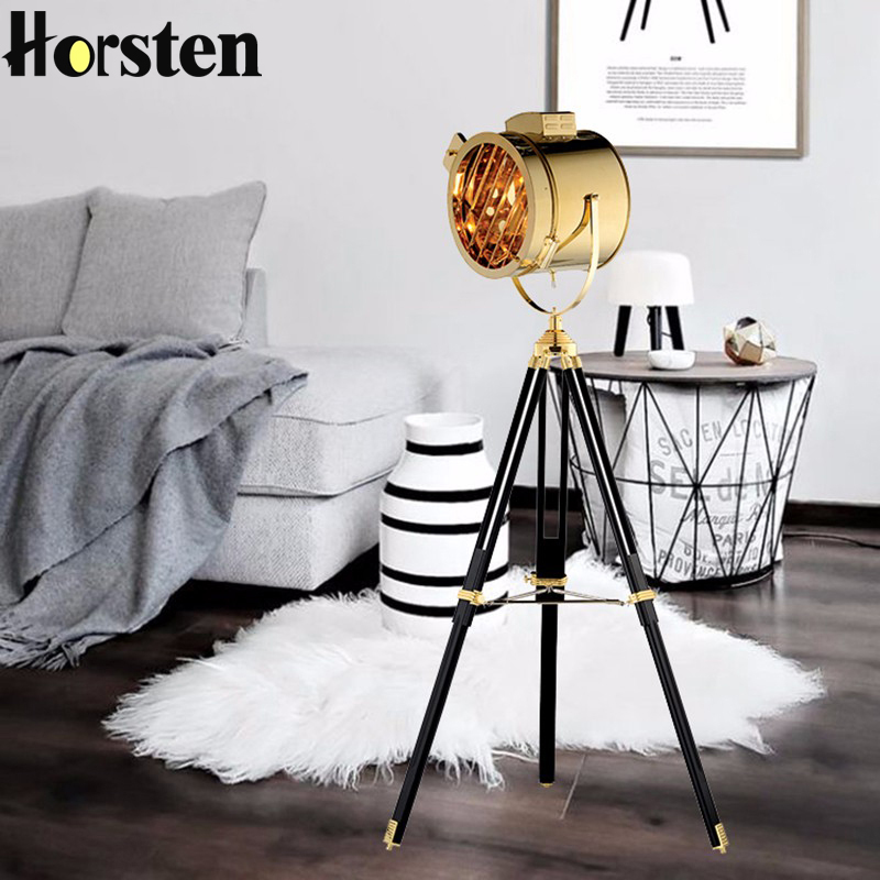 Horsten Industrial Bar Nordic American Creative Studio Retro Silver Golden Floor Lights Tripod Searchlight Floor Lamps E27