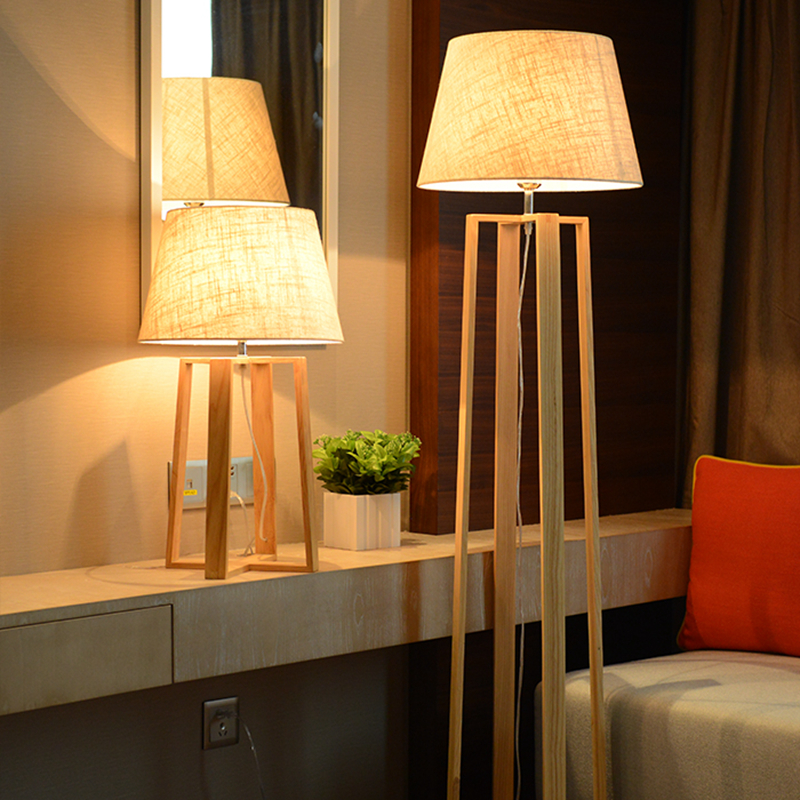 Nordic Modern Nordic wooden floor lamps wood Fabric lampshade standing ligh for living room bedroom indoor home lighting fixture