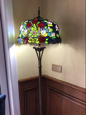 FUMAT European Luxury Tiffany Floor Lamp Home Decor Lotus Flower Glass Shade Stand Lights Living Room Bedside LED Floor Lights
