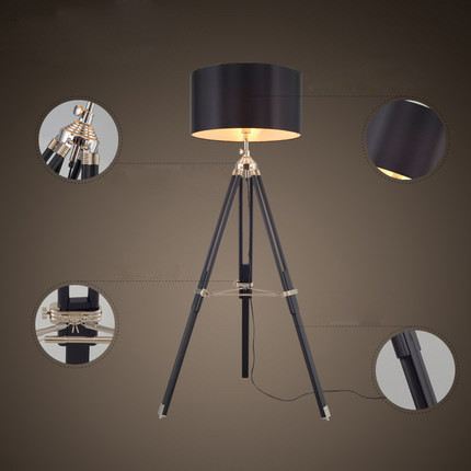 FUMAT Tripod Floor Lamp Modern Black Fabric Shade Floor Light Retro Wood Standing Lamp Designer Floor Lamp for Livign Room