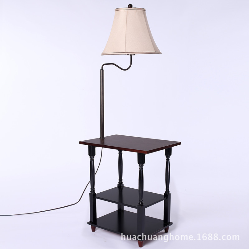 Modern Simple Chinese Iron Wood Led E27 Floor Lamp With Tea Table Shelf For Living Room Sofa Bedroom Deco Ac 80-265v 1008
