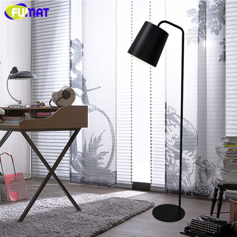 FUMAT  Floor Lamp Nordic Designer Stand Lamp Modern Bedroom Beside Light Black White Yellow Iron Floor Lamps Reading Light