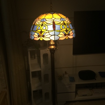 FUMAT Blue Baroque Stained glass Floor Lights For Living Room Hotel Bedside Light Warm European Style Glass Shade LED Floor Lamp