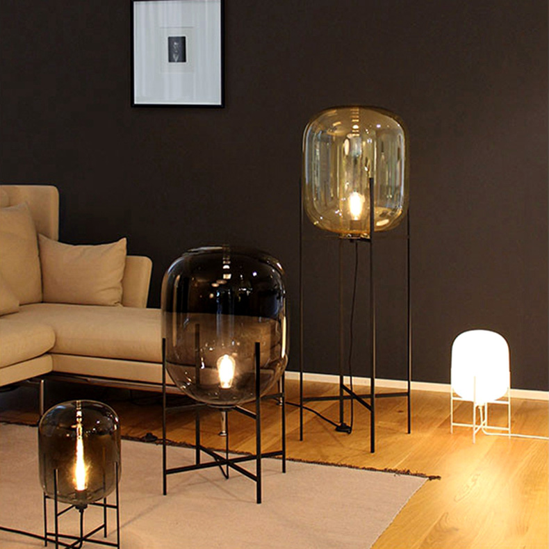 Original Art  Glass Floor Lamps Lights for Amber Smoky Colour Wrought Iron Stent For Living Room/Country House/Bar/Hotel