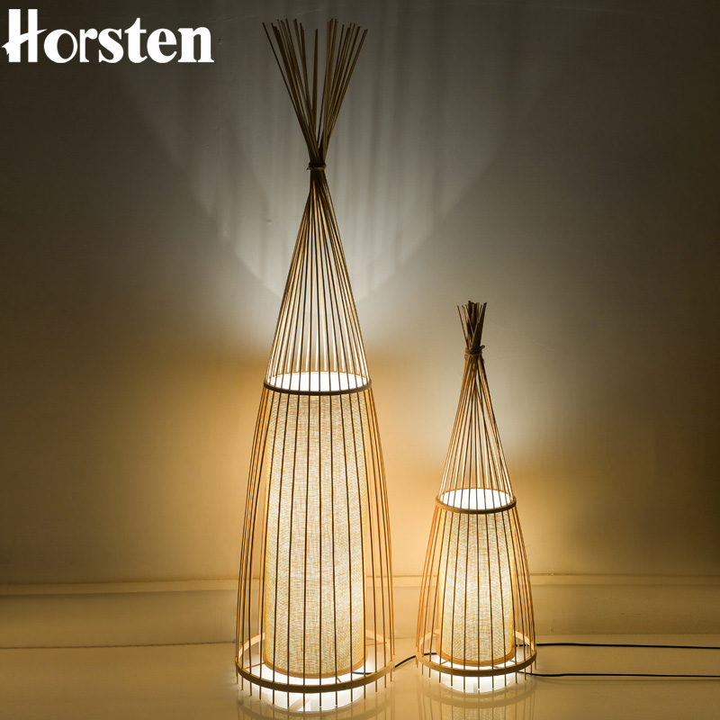 Japanese Style Creative Wooden Bamboo Floor Lamps Art Decoration Stand Light Living Room Bedroom Bedside Floor Lights H91cm E27