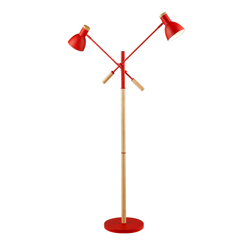 Modern Wood Floor Lamp 2 lamp Nordic 6W E27 LED Bulb Living Room Bedroom Study Standing Lamps Black white red metal wood body