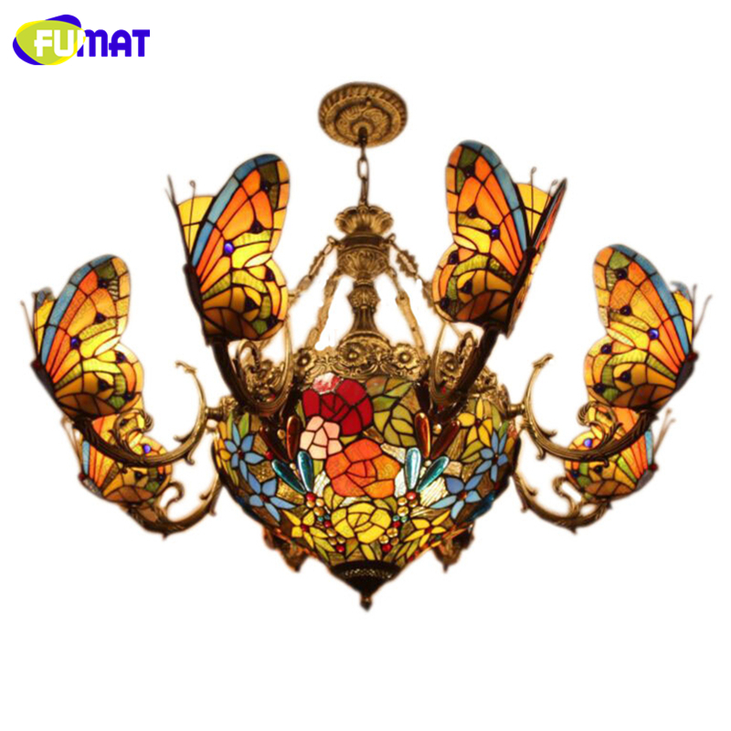 FUMAT Stained Glass Chandeliers Creative Art Glass Butterfly Lamps For Living Room Hotel Lights European style LED Chandeliers