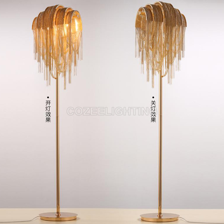 Aluminum Chain Floor Lamp Standing Lighting Modern Style Floor Light Indoor Lighting Home Restaurant Living and Dining Room