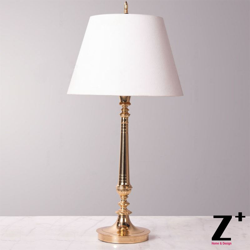 Brass Copper White Lampshade Vintage Classical Slim Floor Lamp