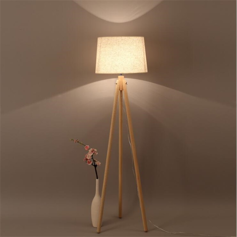 Nordic style wood Tripod floor lamp for reading room hotel room E27 Led Three-legged stent standing lamp wood study floor light
