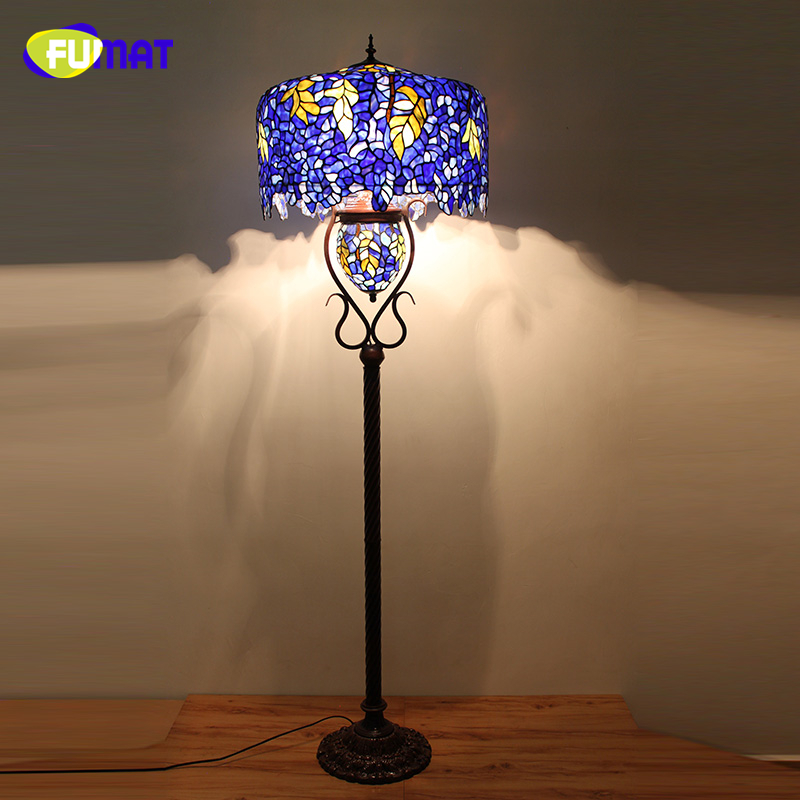FUMAT European Style Quality Stained Glass Floor Lights Living Room Hotel Office Stand Wisteria Glass shade LED Floor Lamps
