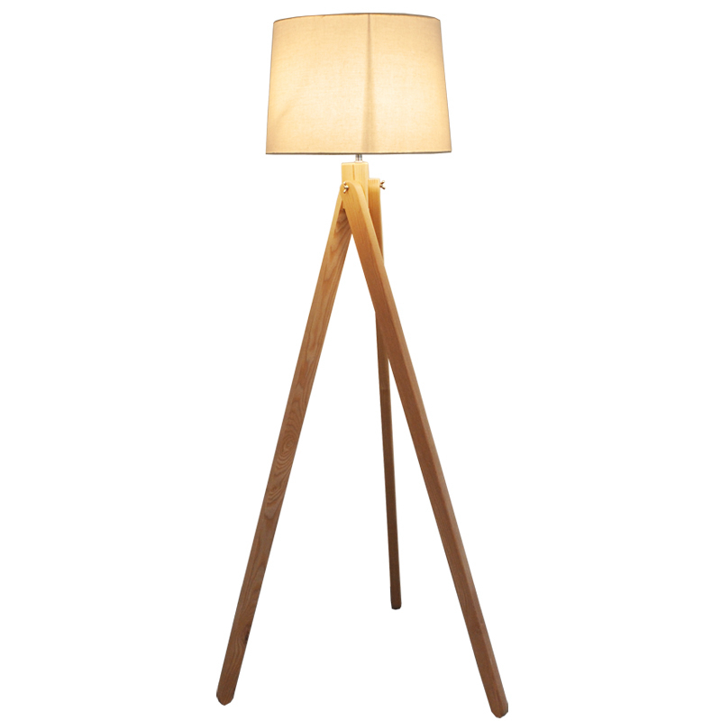 Simple Nordic standing lamp Wood leg Fabric lampshade E27 warm Floor Lamp Living Room Bedroom Restaurant 3 Legs Wood Floor light