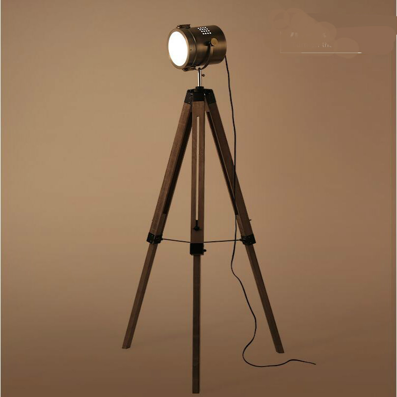 American Retro Vintage Loft Wooden Metal Tripod Led E27 Searchlight Floor Lamp For Photography Workshop Living Room 140cm 1211
