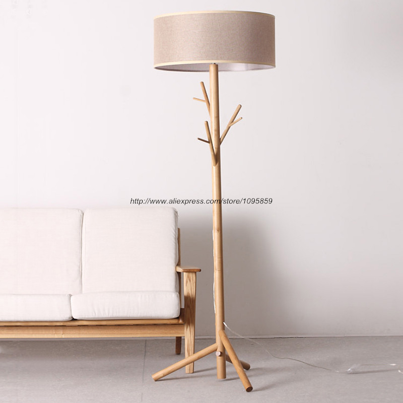 Modern Tree Branch Wood Floor Lamps Lights Bedroom Coat Rack Grey