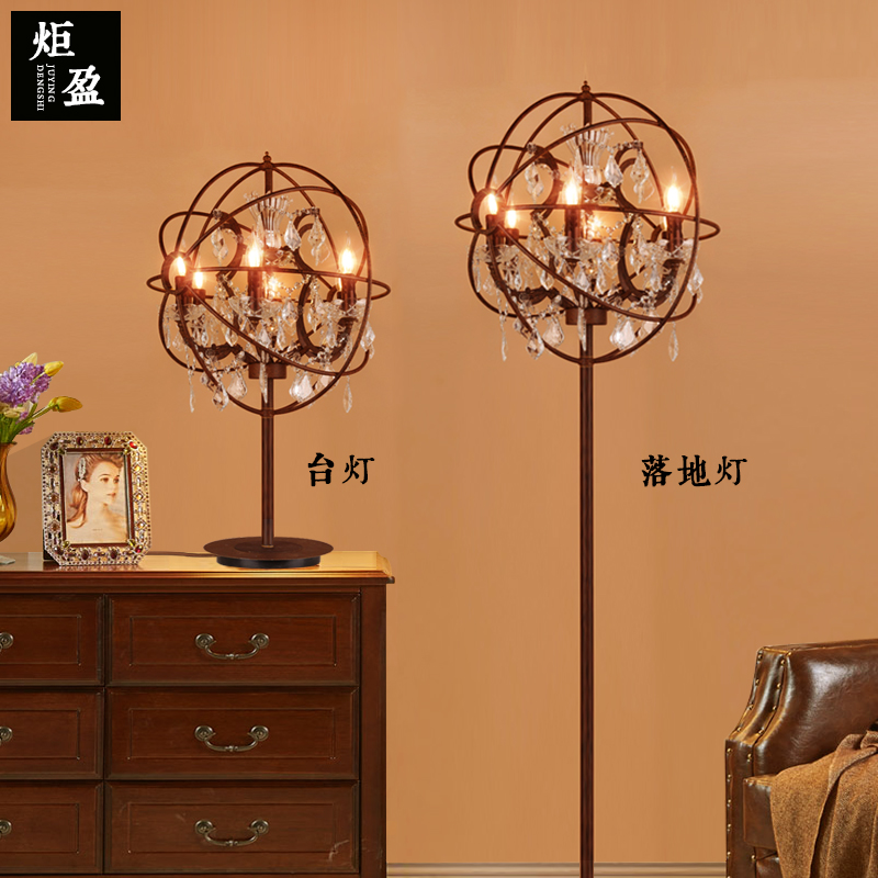 American country loft retro iron crystal floor lamp  bedroom living dining room standing light lamp