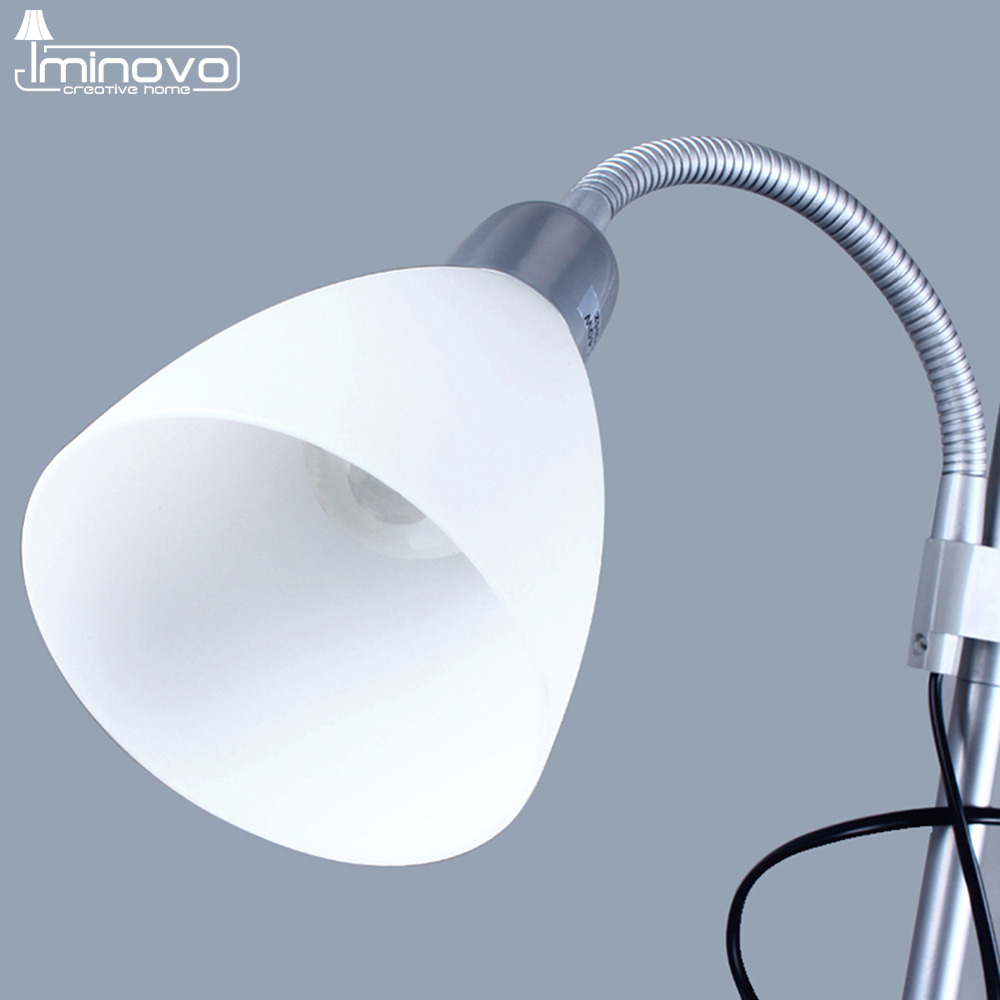 IMINOVO Floor Lamp Fashion Desk Lamps E14/E27 Bulbs Dual Control Button Switch Standard Light For Home Decor Living Room