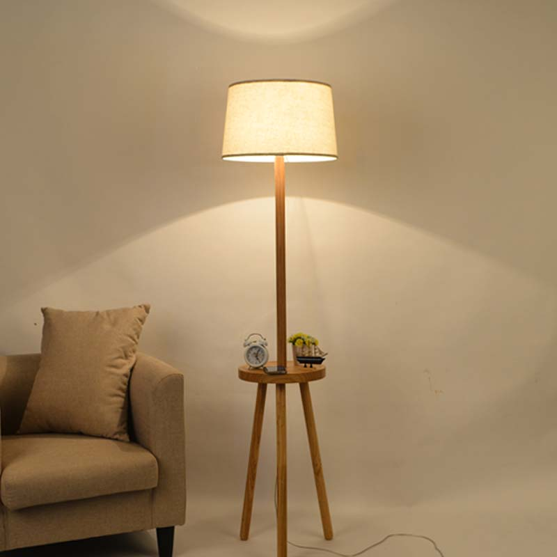 Lights & Lighting Lamps & Shades Useful Led E27 Wooden Decorative Floor Lamp Modern Living Room Bedroom Study Floor Standing Lamps White Fabric Wooden Floor Light Decor